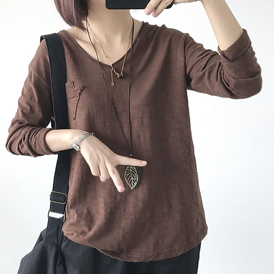 [7% SALE]  슬럽  브이넥  빈티지 티셔츠[TS#3410]