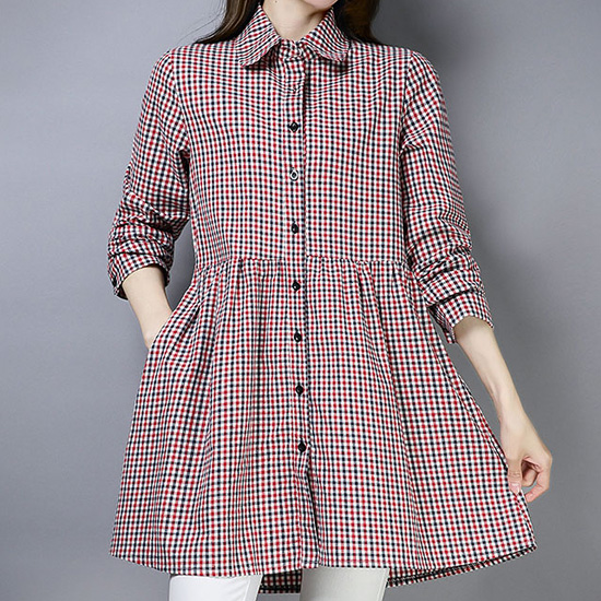 [15% SALE] 카라 롱 체크 셔츠[SI#805]