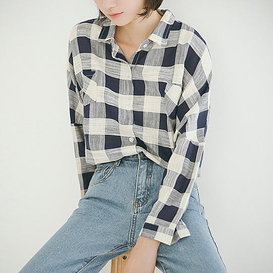 [당일발송]베이직 포켓 체크 셔츠[SI#580]