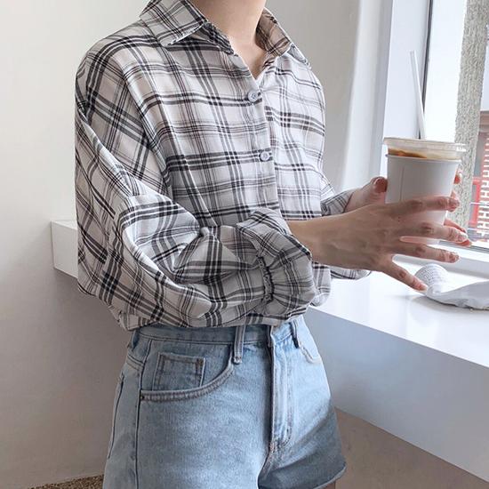 [당일발송]소매 주름 체크 셔츠[SI#959]