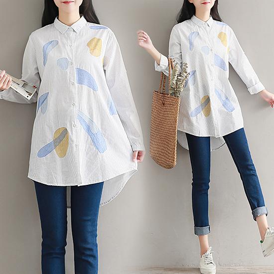 [7% SALE] 카라  스트라이프  프린트 언발란스 셔츠[SI#825]