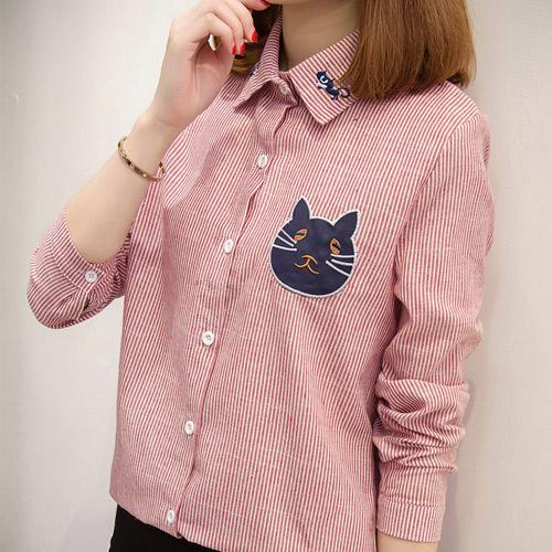 [당일발송]고양이 자수 스트라이프셔츠 [SI#635]
