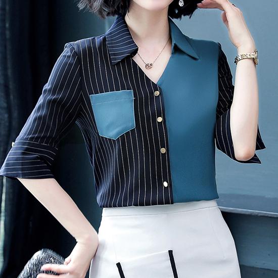 [7% SALE] 컴바인 카라 브이 셔츠[BL#3231]