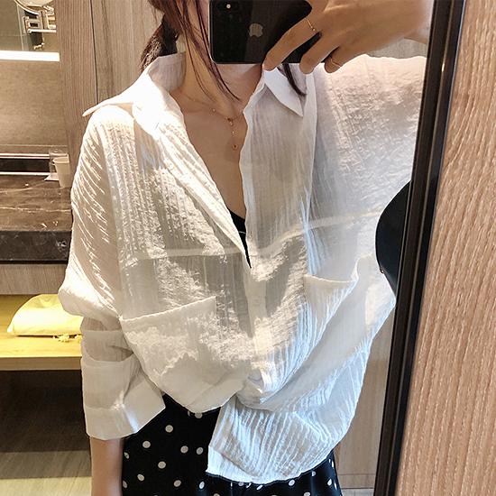 [7% SALE]  루즈핏 링클 카라 셔츠[SI#852]