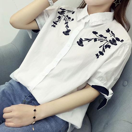 [7% SALE] 소매리본 레이스카라 반팔 셔츠[SI#862]