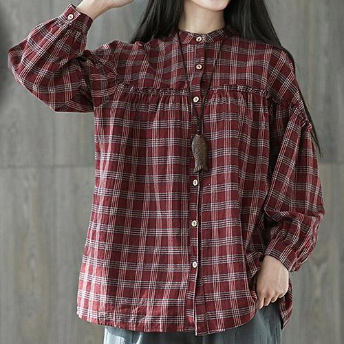 [7% SALE] 차이나 카라 체크 패턴 셔링 셔츠[SI#405]