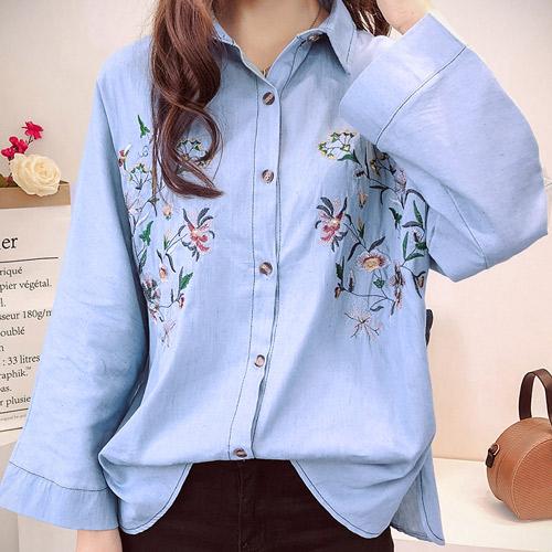 [당일발송]꽃자수 블루 데님 셔츠 [SI#705]