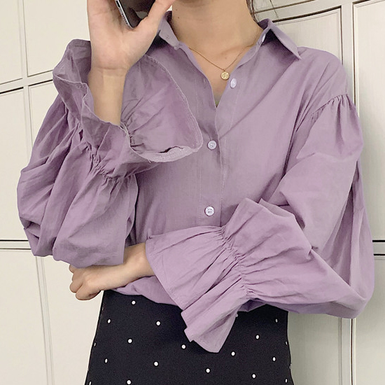 [당일발송] 러플 소매셔츠 블라우스[BL#3408]