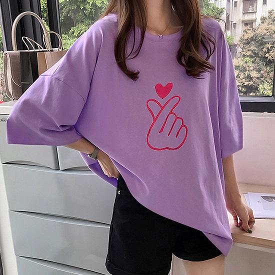 [1+1 패키지] 손하트 루즈핏 티셔츠[TS#3121]