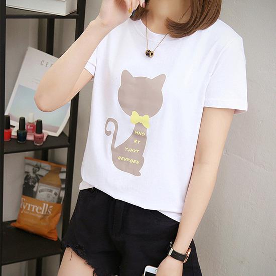 [1+1 패키지] 큐트 캣츠 프린팅 티셔츠[TS#3084]
