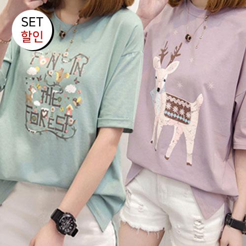 [1+1 패키지] 포레스트 일러스트 라운드 반팔 티셔츠+라운드 사슴 프린트 스판 베이직 반팔 티셔츠[TS#3184+TS#3193]