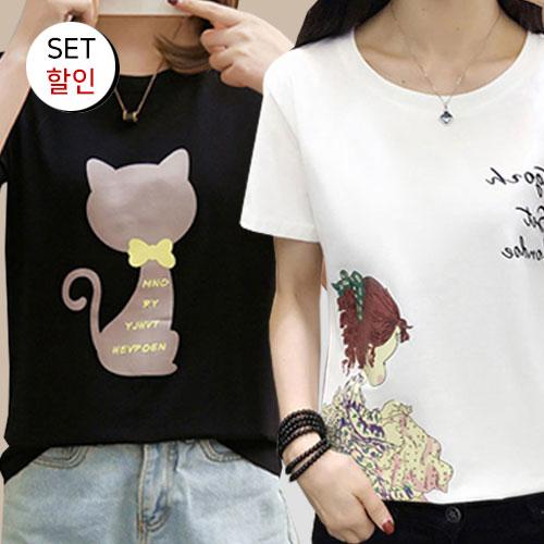 [1+1 패키지] 큐트 캣츠 프린팅 티셔츠+소녀나염 반팔티[TS#3084+TS#3153]