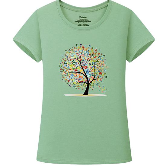 [20% SALE]  컬러풀 숫자 트리 스판 반팔 티셔츠[TS#3201]