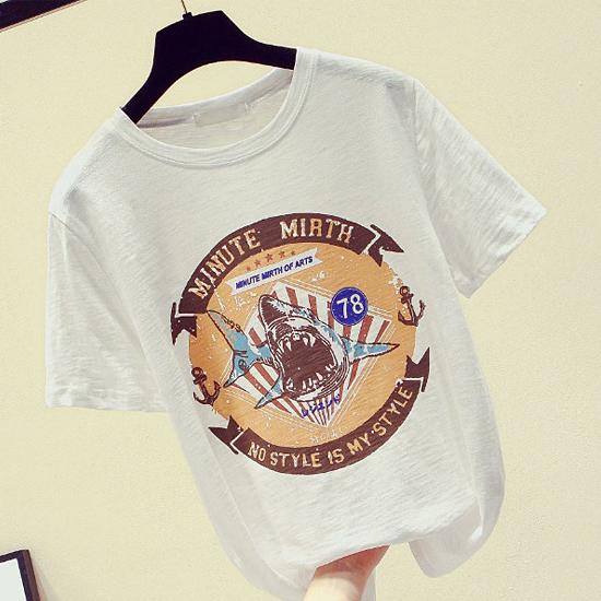 [7% SALE]  빈티지 프린트 반팔 티셔츠[TS#3166]