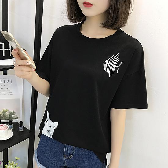[당일발송] 라운드 고양이 생선 티셔츠[TS#3011]