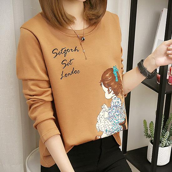 [당일발송]  소녀 나염 라운드 티셔츠[TS#4001]