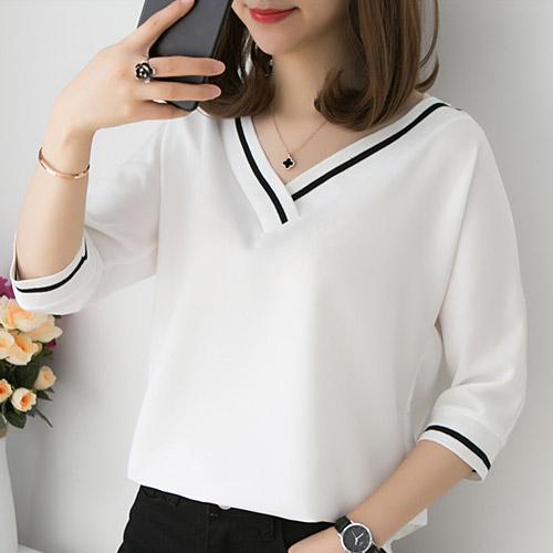 [당일발송][50% SALE] 브이넥 라인배색 티셔츠[TS#2667]